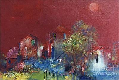 Landscape Painting - Red Moon by Grigor Malinov