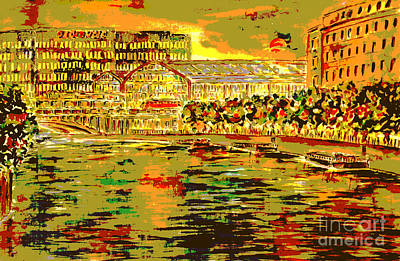 River Spree Painting - Red Moon Over Berlin Golden Fleece Series by Alfred Motzer