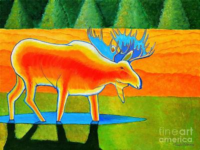 Art Print featuring the painting Red Moose by Joseph J Stevens