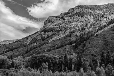 Photograph - Red Mountain Cliffs In Black And White by Karen Stephenson