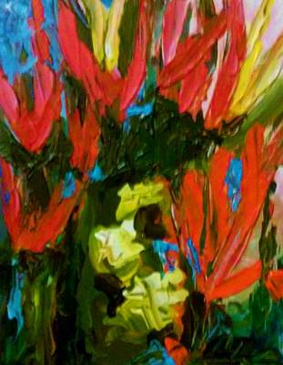 Painting - Red N Blue by Ray Khalife