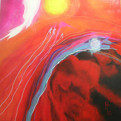 Nightlight Painting - Red Nightlights No.2 by Rosemarie Temple-Smith