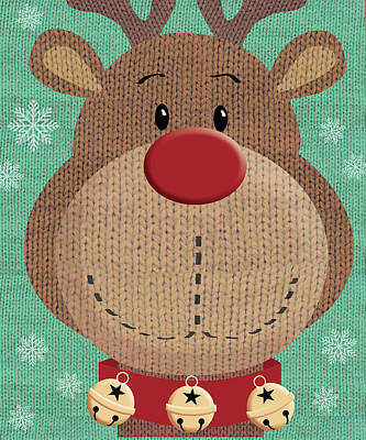 Reindeer Painting - Red Nose by P.s. Art Studios