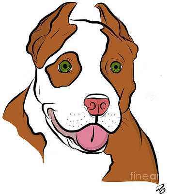 Digital Art - Red Nosed Pit by Rachel Barrett