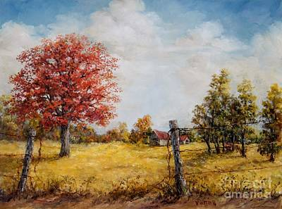 Cloudy Day Painting - Red Oak by Virginia Potter