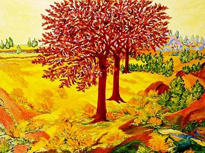Baum Mixed Media - Red Oaks  Pop Art by Gunter  Hortz