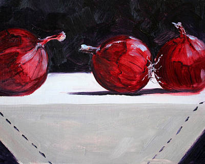 Table Cloth Painting - Red Onions by Nancy Merkle
