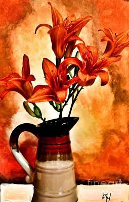 Red Orange Lilies Print by Marsha Heiken