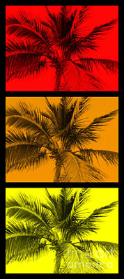 Palm Trees Digital Art - Red Orange Yellow Palm Pop Art by Timothy Curtin