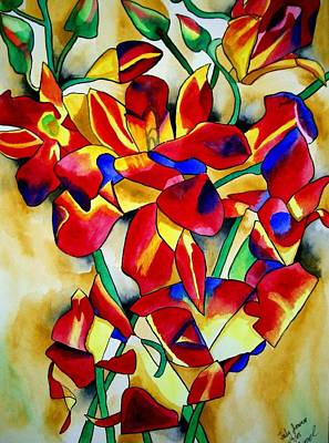 Red Orchids Art Print by Sacha Grossel