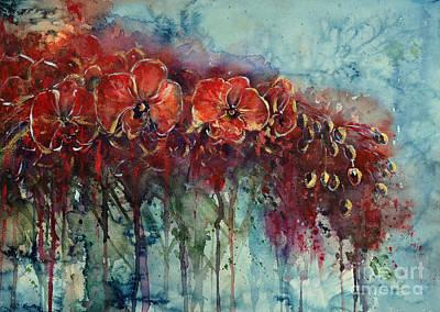 Painting - Red Orchids by Zaira Dzhaubaeva