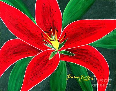 Red Oriental Daylily Original by Barbara Griffin
