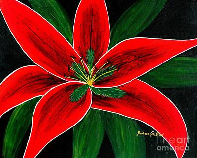 Oriental Lily Painting - Red Oriental Lily by Barbara Griffin