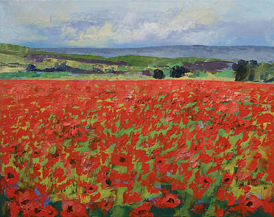 Abstract Impressionism Painting - Red Oriental Poppies by Michael Creese