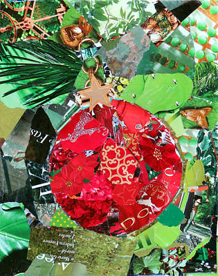 Torn Paper Painting - Red Ornament by Suzy Pal Powell