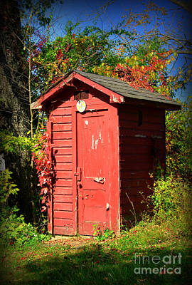 Red Outhouse Art Print by Paul Ward