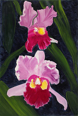 Ruben Carrillo Wall Art - Painting - Red Pair Orchids by Ruben Carrillo