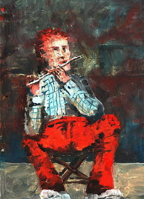 Tin Whistle Painting - Red Pants Ceili In Ireland by Val Byrne