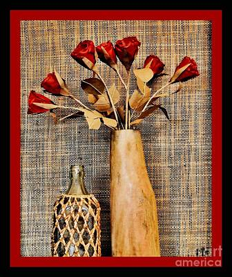 Mango Digital Art - Red Paper Roses Still Life by Marsha Heiken