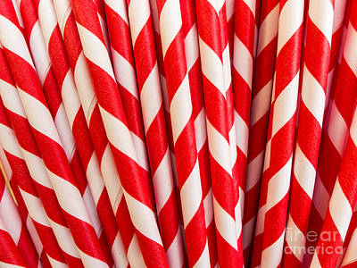 Parlors Photograph - Red Paper Straws by Edward Fielding