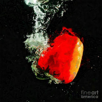Paprika Painting - Red Paprika In Dark Water Painting by Magomed Magomedagaev