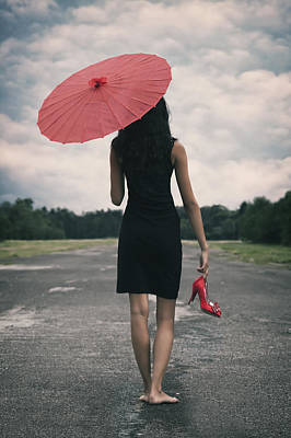 Delapidated Photograph - Red Parasol by Joana Kruse