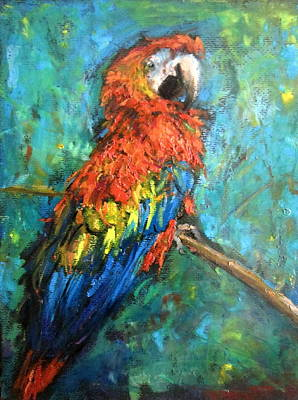 Art Print featuring the painting Red Parot by Jieming Wang