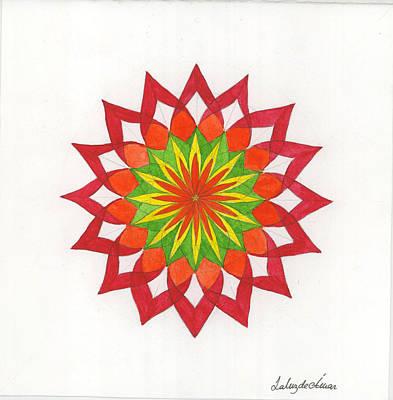 Red Passion Mandala Art Print by Silvia Justo Fernandez
