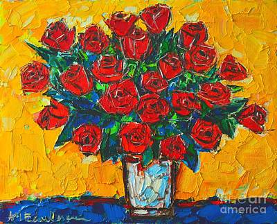 Bouquets Of Pink Flowers Green Blue Painting - Red Passion Roses by Ana Maria Edulescu