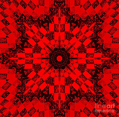 Red Patchwork Art Art Print by Barbara Griffin