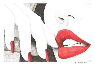 Lipstick Drawing - Red by Paul Shafranski
