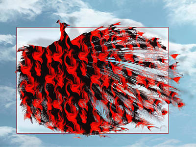 Digital Art - Red Peacock by Yvon van der Wijk