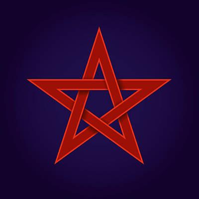 Red Pentagram On Blue Background Art Print