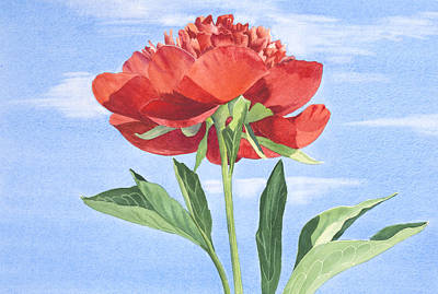 Painting - Red Peony by Elena Polozova