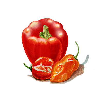 Red Pepper With Hot Peppers Art Print by Irina Sztukowski