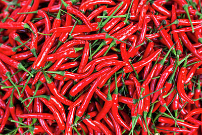 Red Peppers For Sale In Market Art Print by Peter Adams