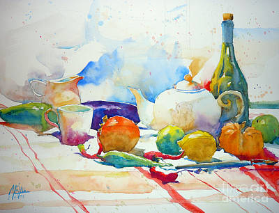 Watercolor Painting - Red Peppers Fruits And Tea Pot by Andre MEHU