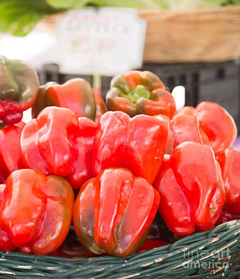 Photograph - Red Peppers In Basket by Rebecca Cozart