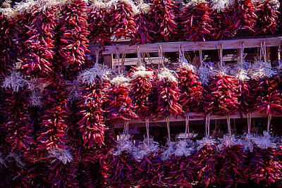 Red Peppers In Bunches Art Print