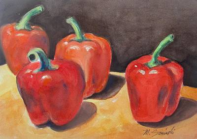 Red Peppers Art Print by Melinda Saminski