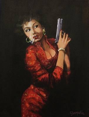 Film Noir Painting - Red Peril by Tom Shropshire