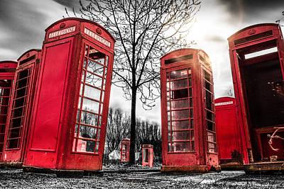 Phone Box Photograph - Red Phone Box Art 2 by Ian Hufton