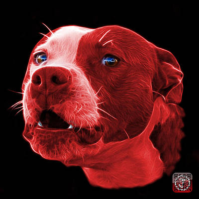 Mixed Media - Red Pitbull Dog 7769 - Bb - Fractal Dog Art by James Ahn