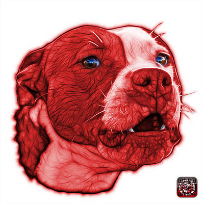 Mixed Media - Red Pitbull Dog Art - 7769 - Wb - Fractal Dog Art by James Ahn