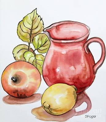 Painting - Red Pitcher Kitchen Still Life by Inese Poga