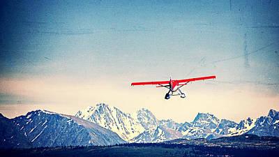 Small Planes Photograph - Red Plane Over Alaska by Vicki Jauron