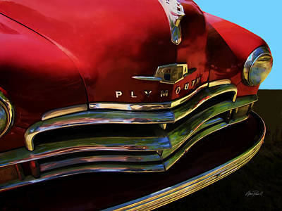 Digital Art - Red Plymouth Classic Car by Ann Powell