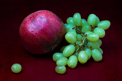 Red Pomegranate And Green Grapes Art Print by Alexander Senin