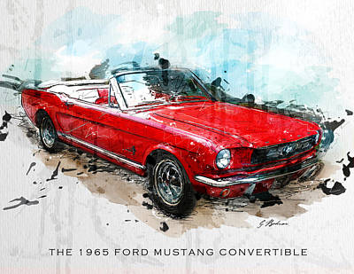 Classic Mustang Car Digital Art - The Red Pony 2 by Gary Bodnar