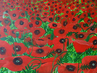 Painting - Red Poppies 3 by Karen Jane Jones